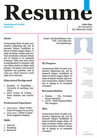 20 awesome designer resume templates for free download kellology - Nice Resume Template